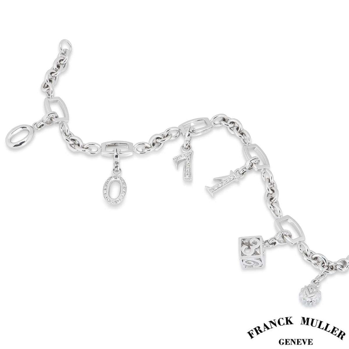 Franck Muller White Gold Charm Bracelet